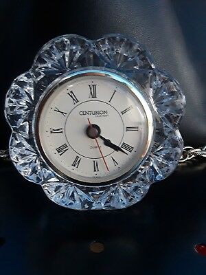 crystal CENTURION Collection mantle quartz clock 24% lead crystal.
