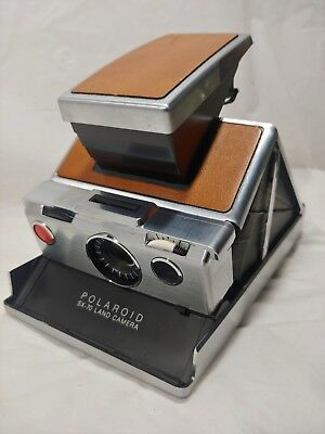 Vintage Polaroid SX-70 Land Camera Brown Leather Untested Parts or Repair