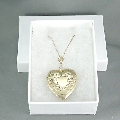 Vintage Art Deco Gorgeous Sterling + 12K GF Gold Ornate Heart Locket Pendant NR