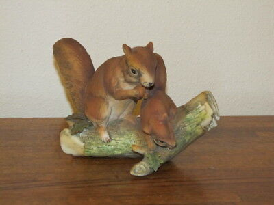 Vintage Porcelain Bisque Red Squirrels on Tree Branch Log Mother and Baby