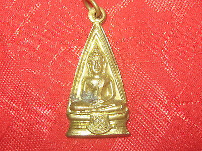 Asian Thailand Thai Buddha Buddhist Brass Tone Charm Medal Pendant Necklace