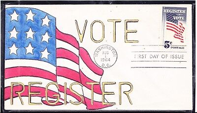 Scott 1249 Register Vote Collective Hand Painted First Day Cover