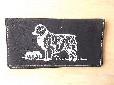 - Australian Shepherd-  Hand Engraved Leatherette Check Book Cover by Ingrid.