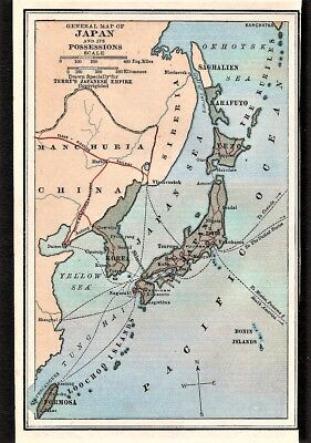 Original 1928 General Map of JAPAN and it's POSSESSIONS