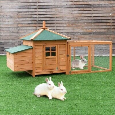 "78"" Outdoor Backyard Wooden Chicken Coop Rabbit Hutch PS6885+"