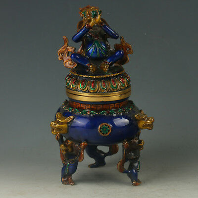Chinese Exquisite  Cloisonne Three Foot Incense Burner Carved Lion Statue GL448