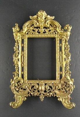 Antique Victorian Cast Iron Cherub Picture Frame Brass Finish Ornate