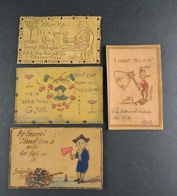 Antique Vtg Collection of Leather Postcards Lot George Washington