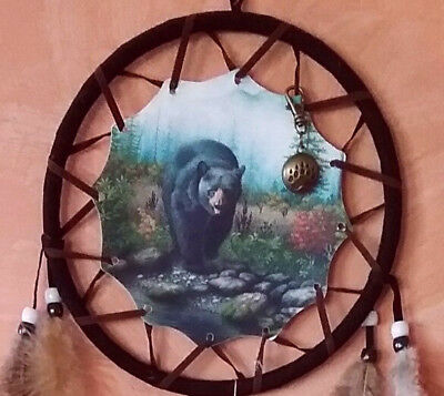 "27"" Native American Design Bear Dreamcatcher With Brown Bear Pendant Amulet"