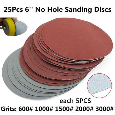 "25pcs 150mm 6"" Mix Abrasive Hook Loop Sanding Discs 600 1000 1500 2000 3000 Grit"