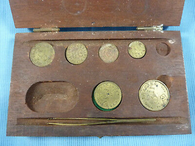 Apothacary Coin Style Scale Weights in Box Henry Troemner Philadelphia