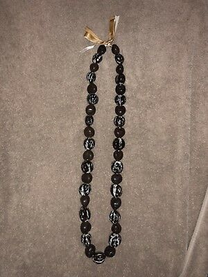 """Brown W/ Brown And Coffee Cream Swirl Kukui Nut Necklace 17"""""""