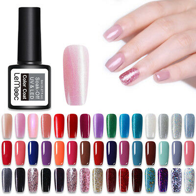 LEMOOC 8ml Vernis à Ongles UV LED Semi-permanent Nail Art UV Gel Polish Manucure