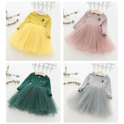 Toddler Baby Girls Long Sleeve Princess Party Wedding Pageant Tutu Dress 1-6Y