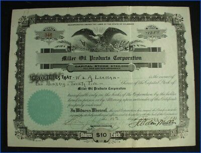1921 Miller Oil Products Corporation 125 Shares Capital Stock Certificate