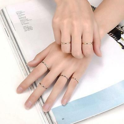 Silver/Gold Toned Thin Band Knuckle Jewelry Ring New Fashion Titanium Steel JA