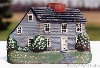 C1890 Original Hand Painted Cast Iron Doorstop Saltbox No Repaint No Touchup Wow
