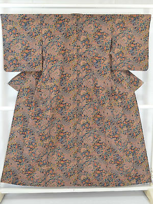 Vintage Japanese Navy Blue/Multi Floral Polyester Kimono/Robe/Coat Unlined Small