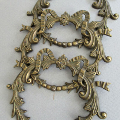 4 Antique French ROCOCO Bronze MOUNTS Ornaments Appliques WREATHS w BOWS