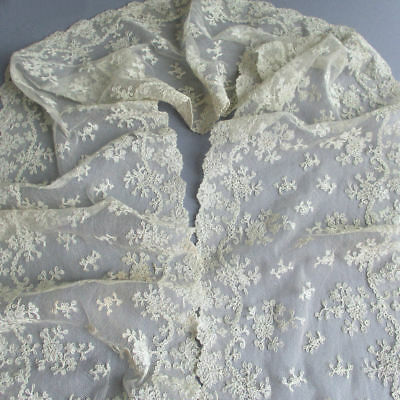 "Antique Creamy French ALENCON LACE Lappet Needlelace 58"" X 7 1/2"" Wide"