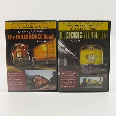 Slides with Mike Schafer Picture CD Lot of 2 Train Railroad Milwaukee Road Photo