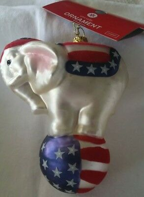 Handblown Glass Christmas Tree Ornament Decoration Circus Elephant Figurine 4.5""