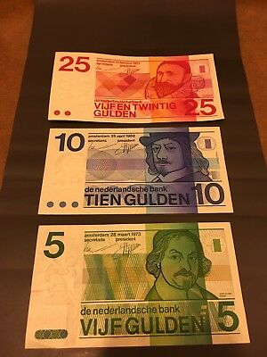 Netherland 5, 10, 25 Gulden Bank Notes