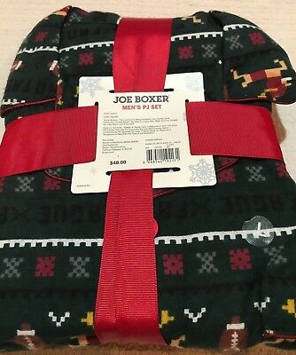 NWT Men's Joe Boxer 2 pc Flannel Pajamas Dk Green Football Reindeer~ Size Large