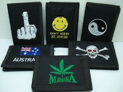12X Black Nylon Wallets with Assorted design