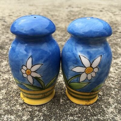 """SPRING DAISIES """"Blue"""" Set of Beautiful Collectable Ceramic Salt & Pepper Shakers"""