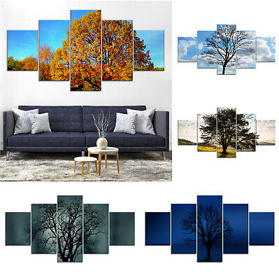 Tree Solo Canvas Print Painting Framed Home Decor Wall Art Poster 5Pcs