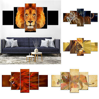 Lion Animal Artwork Modern Canvas Print Painting Home Decor Wall Art Poster 5Pcs