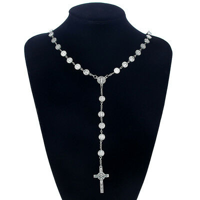 1Pcs Ancient Silver Christian Rosary Beaded Jesus Cross Pendant Necklace Jewelry