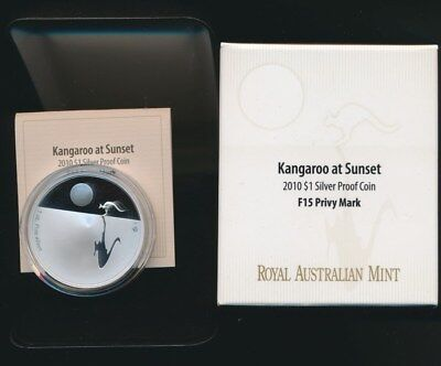 Australia 2010 $1 1oz 99.9 Silver Proof Kangaroo at Sunset F15 Privy Mark RARE