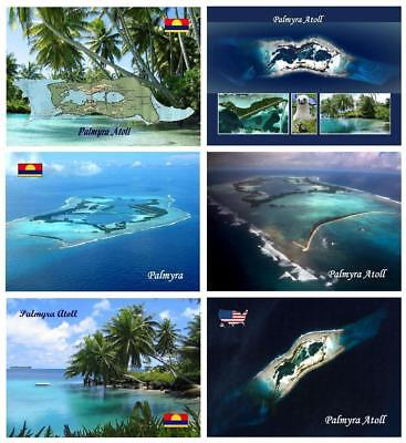 AK Palmyra Atoll Map Aerial View Satellite View New Postcard