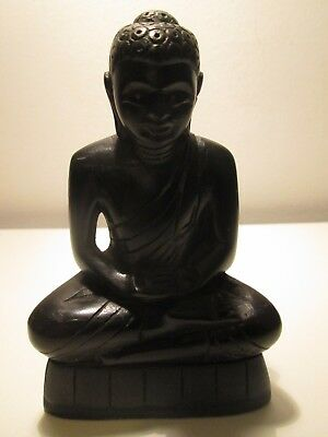 Antique Solid Ebony Hand Carved Desk Top Buddha Beautiful Piece
