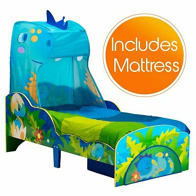 Dinosaur Toddler Bed With Storage & Canopy + Deluxe Foam Mattress