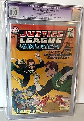 Justice League Of America #30 - Cgc 8.0 (Restored)  - Jsa Xover - Ow/w  Pages
