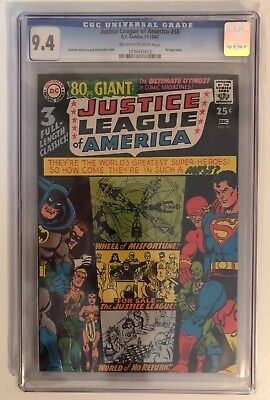Justice League Of America #58 - Cgc 9.4 - 80 Page Giant - Ow/w Pages