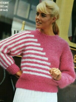 Knitting Pattern ladies chunky knitting sweater jumper easy knit sizes 32-40  in a236ff122