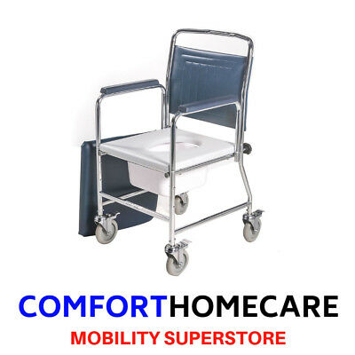 Commode Wheelchair on wheels with detatchable arm rests ROMA MEDICAL