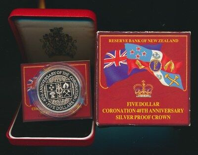 New Zealand: 1993 Large Silver $5 Proof, Cat $50, 40th Anniversary of Coronation