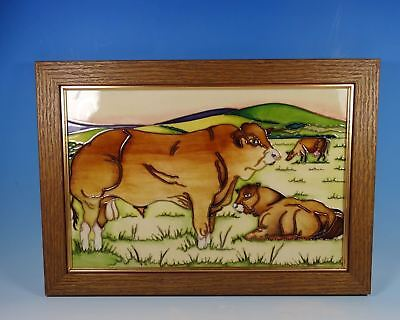MOORCROFT Countryside Limousin Bulls Framed Plaque 1st Quality Trial RRP £645