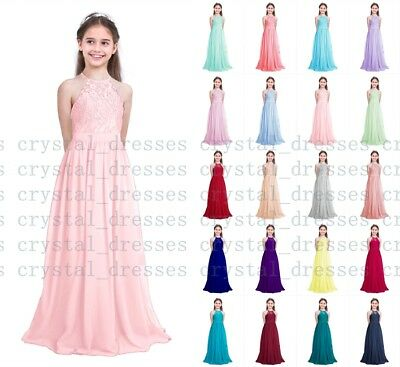 Prom Floor Lace Junior Flower Girl Dress Wedding Party Bridesmaid Dress 2-16Year