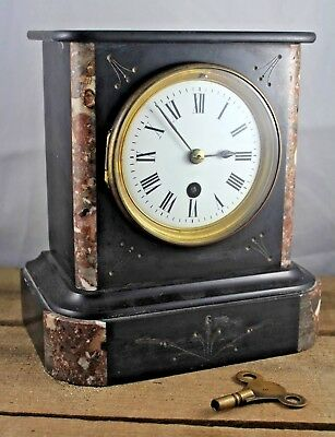 Antique c1880s Victorian Slate & Marble Mantle Clock, Complete, Working With Key