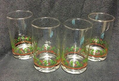 Arby's Holly Berries Flat Bottom Swirl-Optic Glass Set Christmas 1980s Set of 4