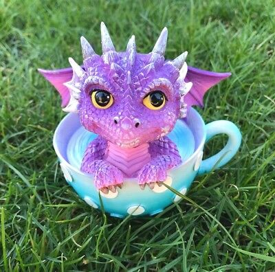Cute Baby Dragon in Tea Cup Figurine Ornament Fantasy Gothic Lovers Gift