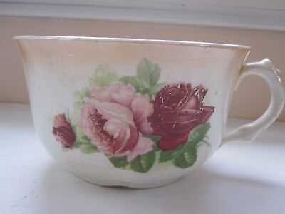 Vintage Serving Bowl With Crazing, Handle, and Floral Print