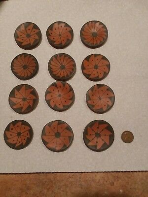 Small Little Mexican Mexico Pottery Plate Terra Cotta?? Designs Total 12