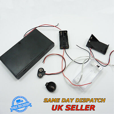 AA AAA PP3 Coin 9V Battery Holder with Wire Box Case